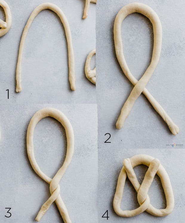 A collage of four photos showing the steps it takes to twist a rope of dough into a pretzel.
