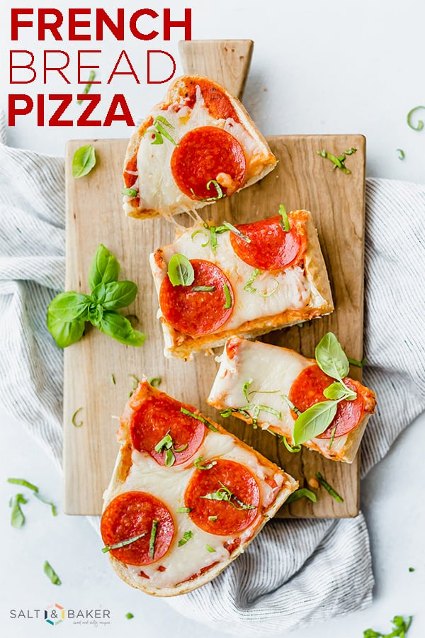 French Bread Pizza is a perfect meal for those crazy weeknights! #saltandbaker #pizza #frenchbreadpizza #easydinner #dinnerideas