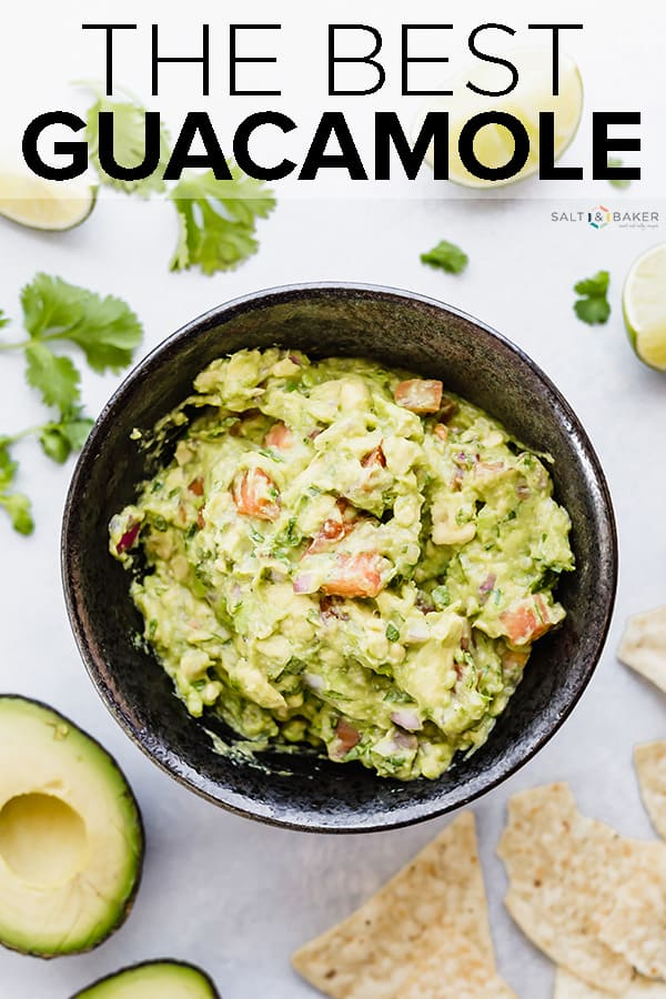 Simple ingredients come together to make something that tastes absolutely delicious! Loaded with perfectly ripe avocados, cilantro, tomatoes, garlic, and onion, this guacamole recipe is absolute perfection! #saltandbaker #guacamole #chipdip #avocados