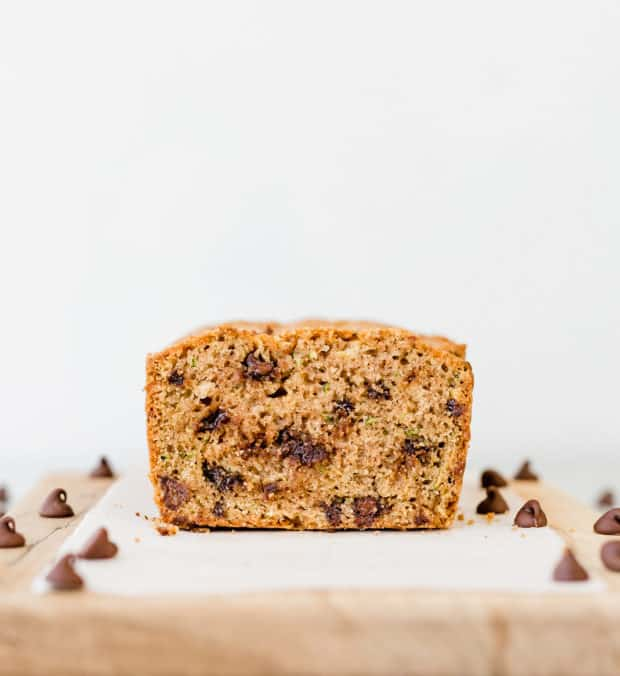 Straight on view of chocolate chip zucchini bread.