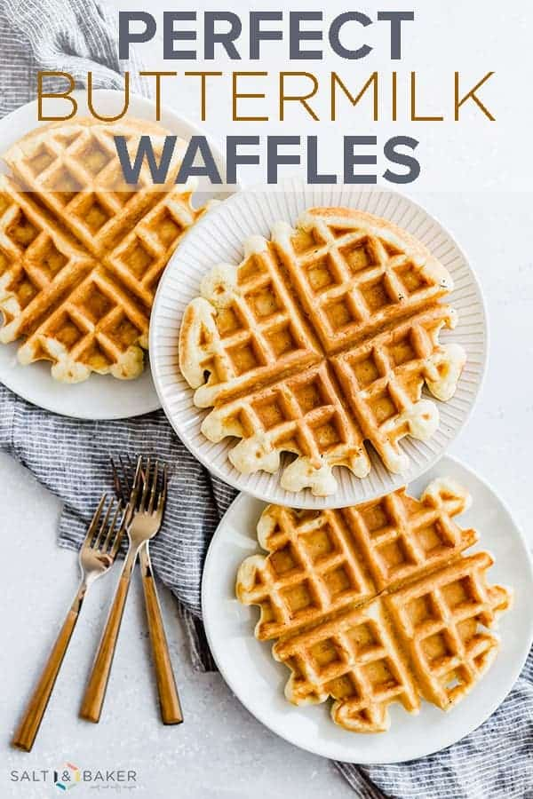 Beautifully crisp on the outside, light and fluffy on the inside, this Buttermilk Waffle Recipe results in perfect waffles every time! #saltandbaker #waffles #breakfast #wafflerecipe #buttermilkwaffles #brunch