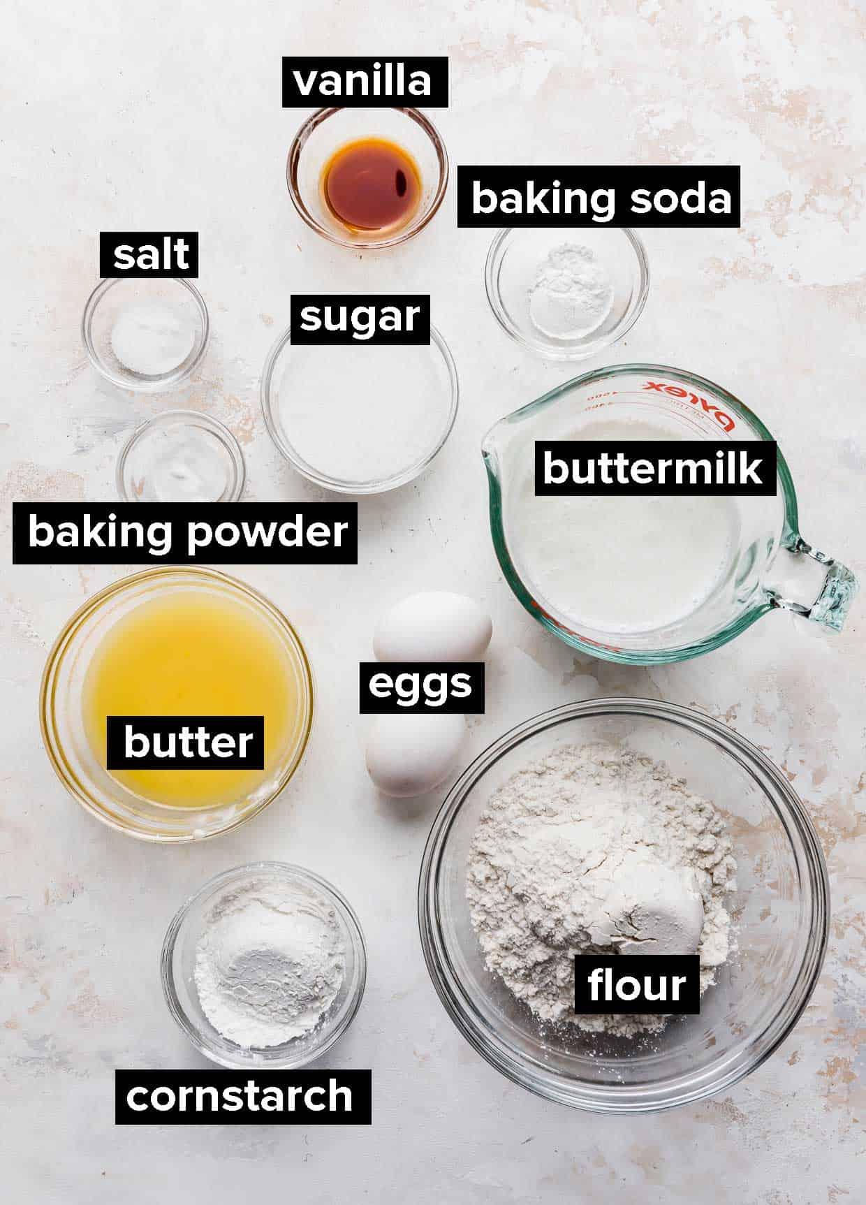 Ingredients used to make crispy buttermilk waffles.