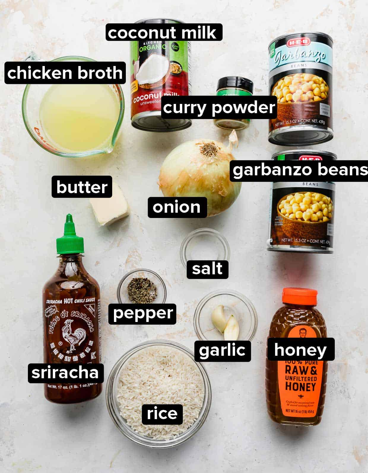 Ingredients used to make chickpea curry.