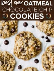 Thick and chewy Oatmeal Chocolate Chip Cookies on a white background.