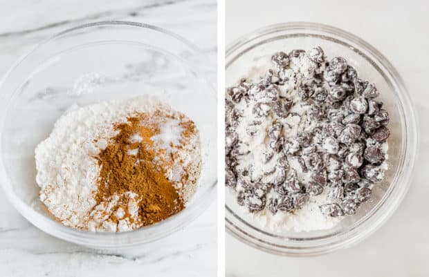 The left photo shows a glass bowl with the dry ingredients. Right photo is a glass bowl with flour and chocolate chips.