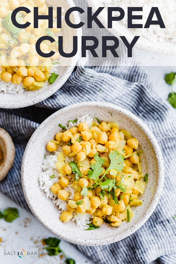 This Chickpea Curry recipe is full of that warm curry flavor. It has the perfect balance of sweetness and heat due to the honey and sriracha sauce. It's easy to prepare AND healthy! #saltandbaker #curry #indianfood #chickpeas #chickpeacurry #easydinner #30minutemeals