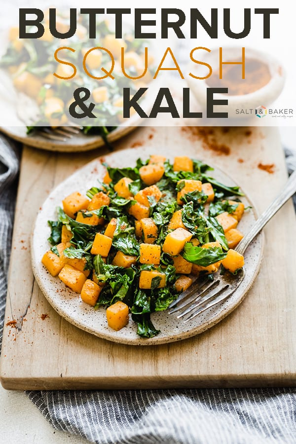 Butternut squash and kale is a delicious and healthy side dish! #saltandbaker #kale #butternutsquash #sidedish