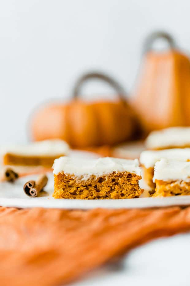 Pumpkin Bars with a cream cheese frosting.