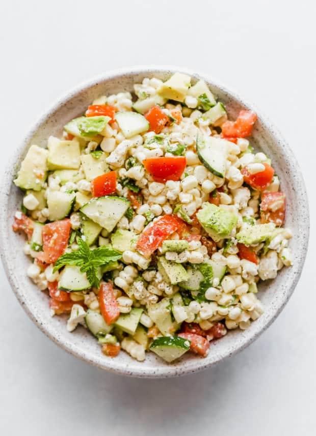 Overhead photo of Feta Corn Salad in a large bowl.