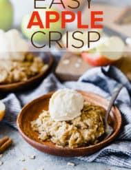 Apple crisp with vanilla ice cream on top.
