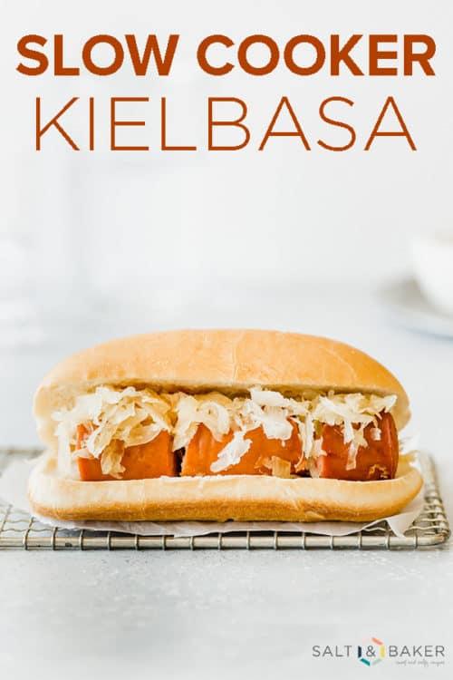 Kielbasa and sauerkraut on a bun.