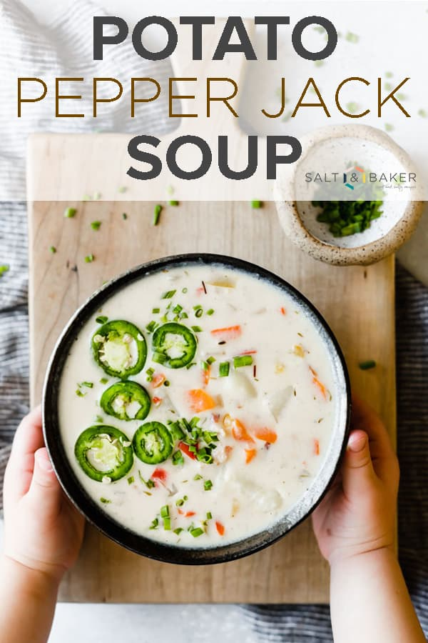 This Potato Pepper Jack Soup is inspired by the famous pepper jack cheese that so many of us love! #saltandbaker #soup #souprecipe