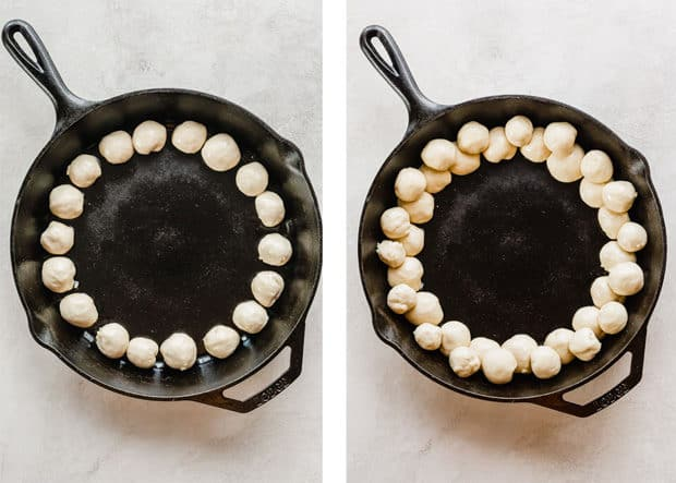 Two photos, the left has small dough balls along the perimeter of a black cast iron skillet; the right has two layers of dough balls along the perimeter of the skillet.