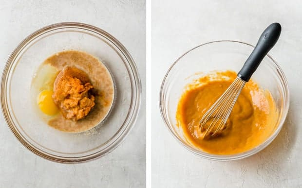 Two process photos for making pumpkin scones; the left is the wet ingredients in a glass bowl, the right shows the wet ingredients incorporated with a whisk.