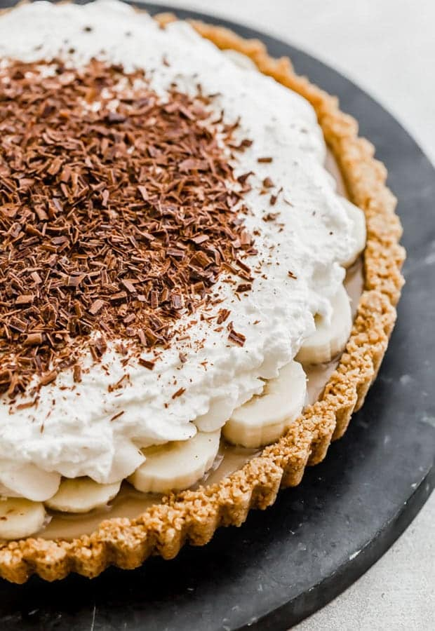 Graham Cracker crust with a toffee, banana, and whipped cream topping.