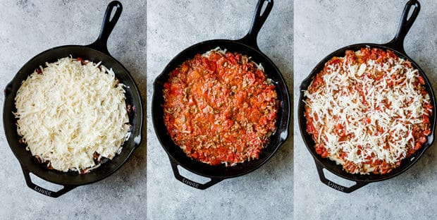 Three process photos of skillet lasagna in the making.