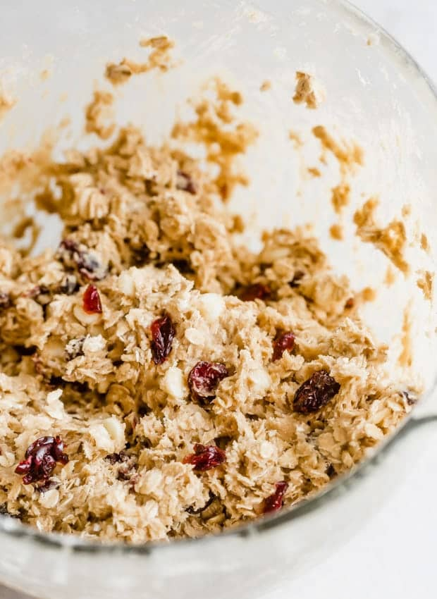 Oatmeal cookie dough with white chocolate chips and dried cranberries.