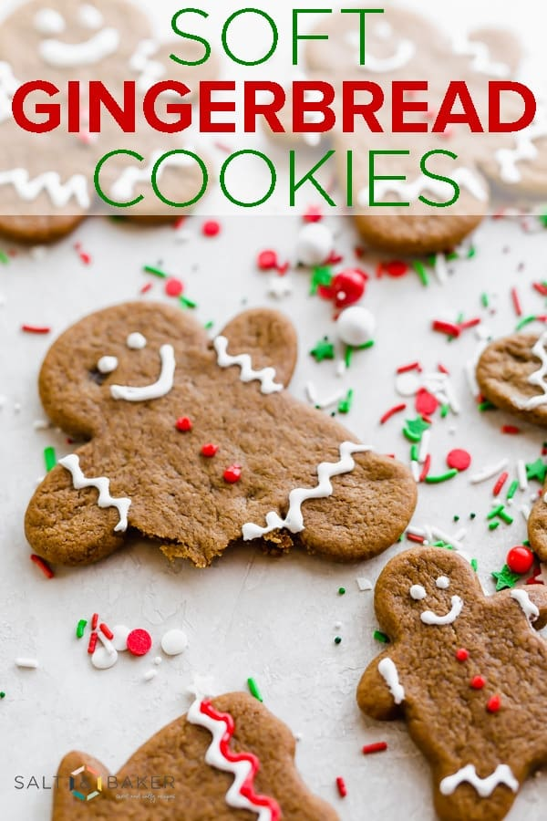 These soft gingerbread cookies are the perfect holiday cookie recipe! Easy cut out gingerbread cookies that are delicious and fun to make! #saltandbaker #gingerbread #holiday #cookies #cookierecipe