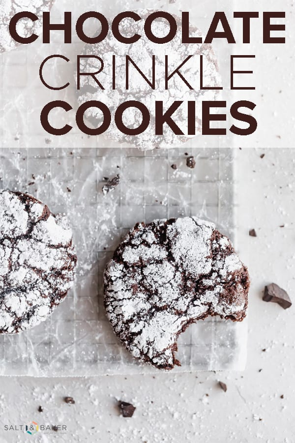 This chocolate crinkle cookies recipe makes soft and fudgy cookies that bake up perfectly every time. They're the perfect holiday cookie recipe! #saltandbaker #cookies #holidaybaking #chocolate