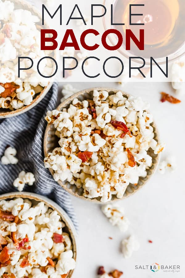 Maple Bacon Popcorn is the perfect sweet and salty snack. This stovetop popcorn is a delicious game day food! #saltandbaker #gameday #appetizer #fingerfood