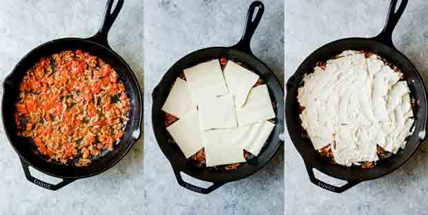 Three photos of skillet lasagna in the making.