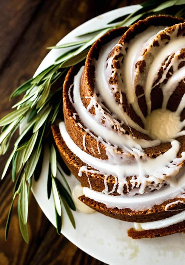 Overhead photo of a gingerbread bundt cake topped with a maple glaze.