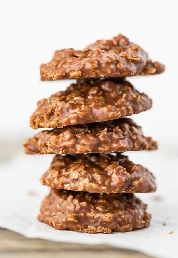 A stack of chocolate peanut butter no-bake cookies.