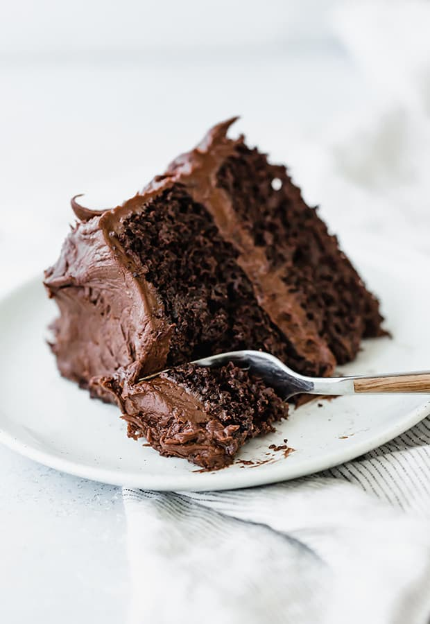 A slice of chocolate cake with a fork cutting into the cake.