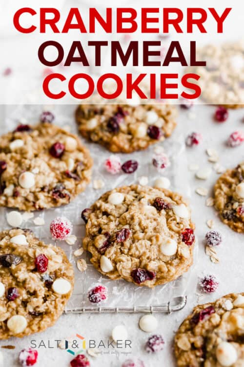 White Chocolate Cranberry oatmeal cookies on a cooling rack.