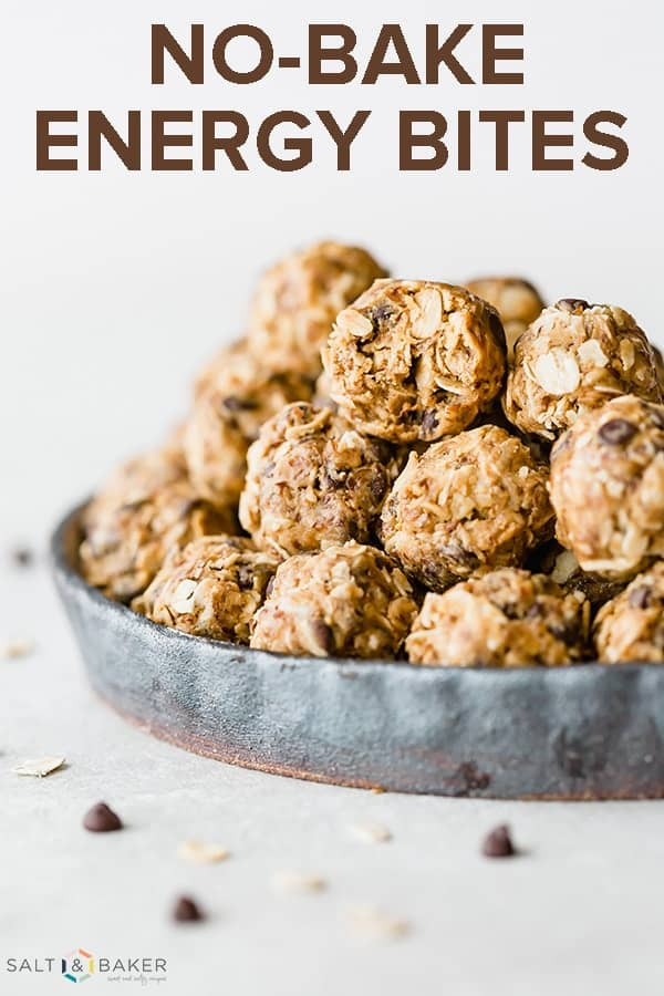 No-Bake Energy Bites are the perfect healthy snack. It's a delicious low calorie snack recipe loaded with peanut butter, oats, flax seed, and chocolate chips. This protein balls recipe is the best post workout snack. #saltandbaker #protein #healthysnack #energybites #lowcalorie
