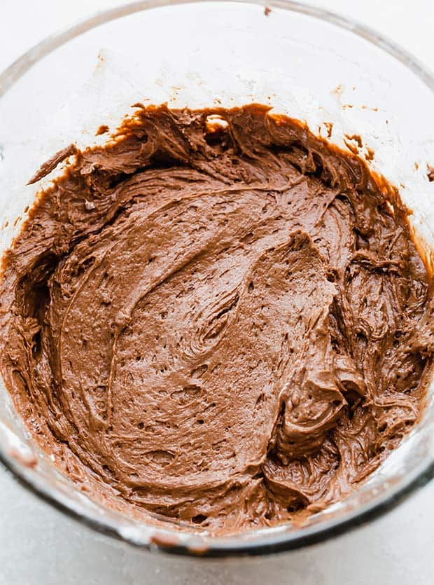 A close up photo of German chocolate cake batter.