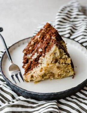 A slice of layered German Chocolate Cake.