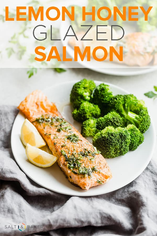 Lemon Honey Glazed Salmon is the perfect pan seared salmon recipe. The sweet lemon honey glaze is packed with fresh parsley, chives, and lemon. This is a healthy dinner recipe AND an easy recipe at that! #saltandbaker #salmon #healthyrecipes