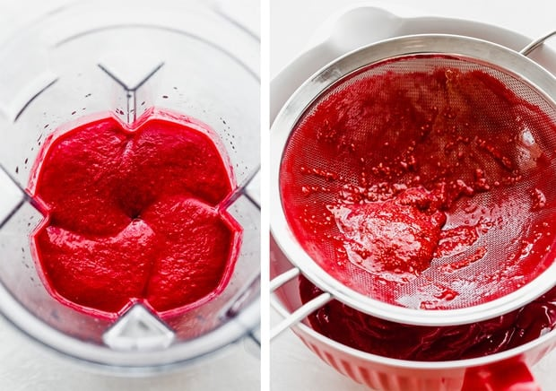 Two photos, the left is a raspberry puree in a blender, the right photo is a fine mesh strainer full of raspberry seeds after the raspberry sorbet passed through the strainer.