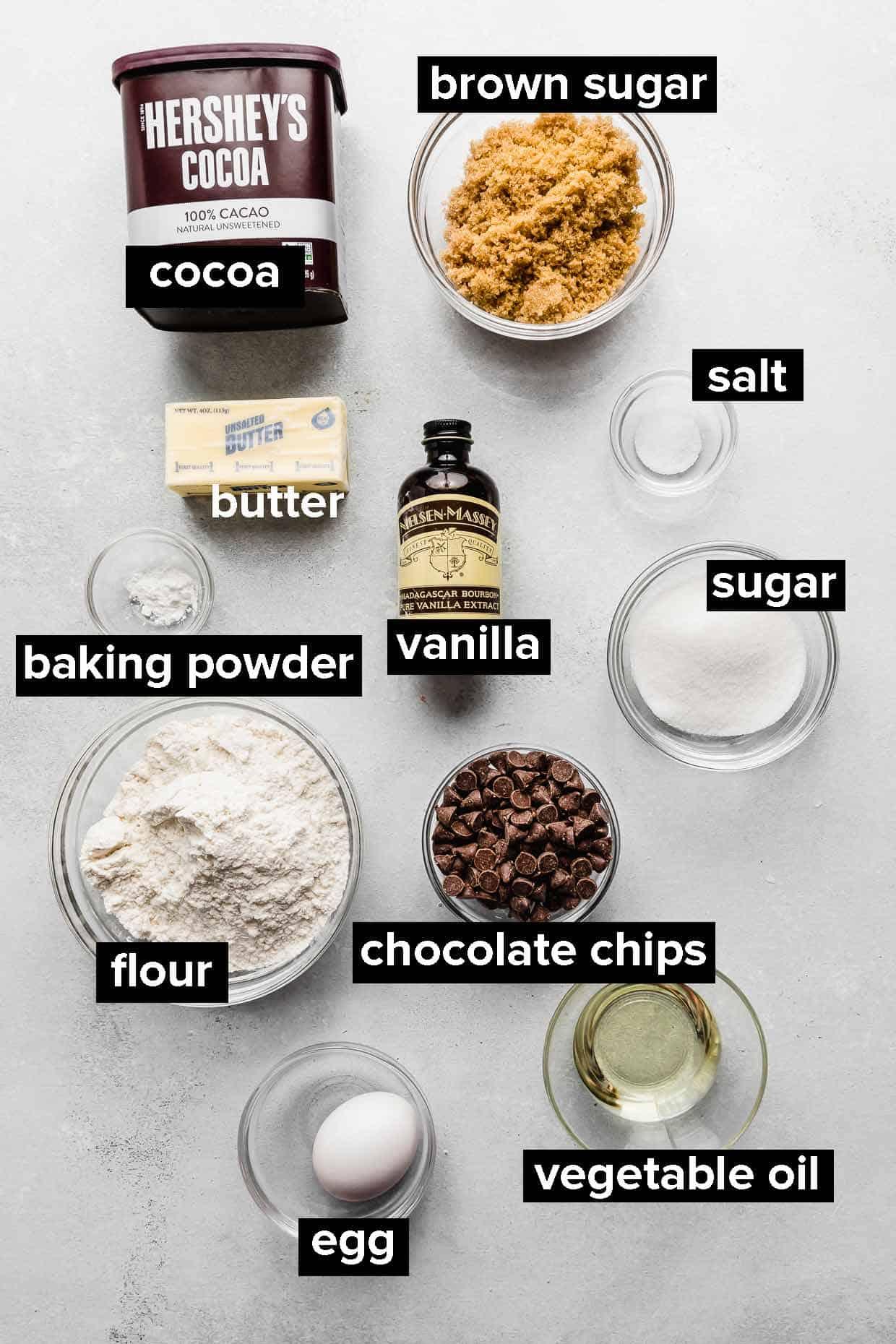 Ingredients used to make fudgy brownie cookies.