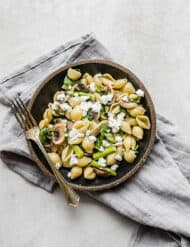Goat cheese pasta with asparagus, mushrooms, and spinach.