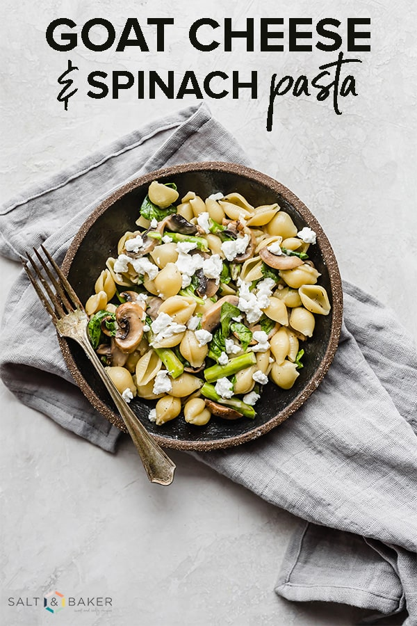 This goat cheese pasta is loaded with goat cheese, fresh asparagus, spinach, and mushrooms. It's an easy and healthy meal. #saltandbaker #goatcheese #pasta #asparagus