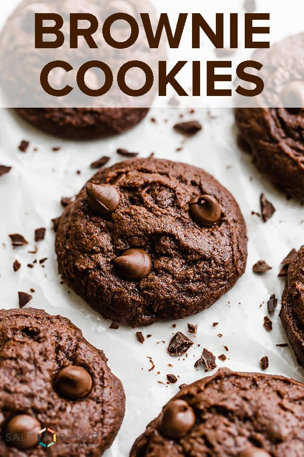 Brownie cookies that taste just like a brownie! These chocolate cookies are rich and decadent. #saltandbaker #browniecookies #brownie #cookies