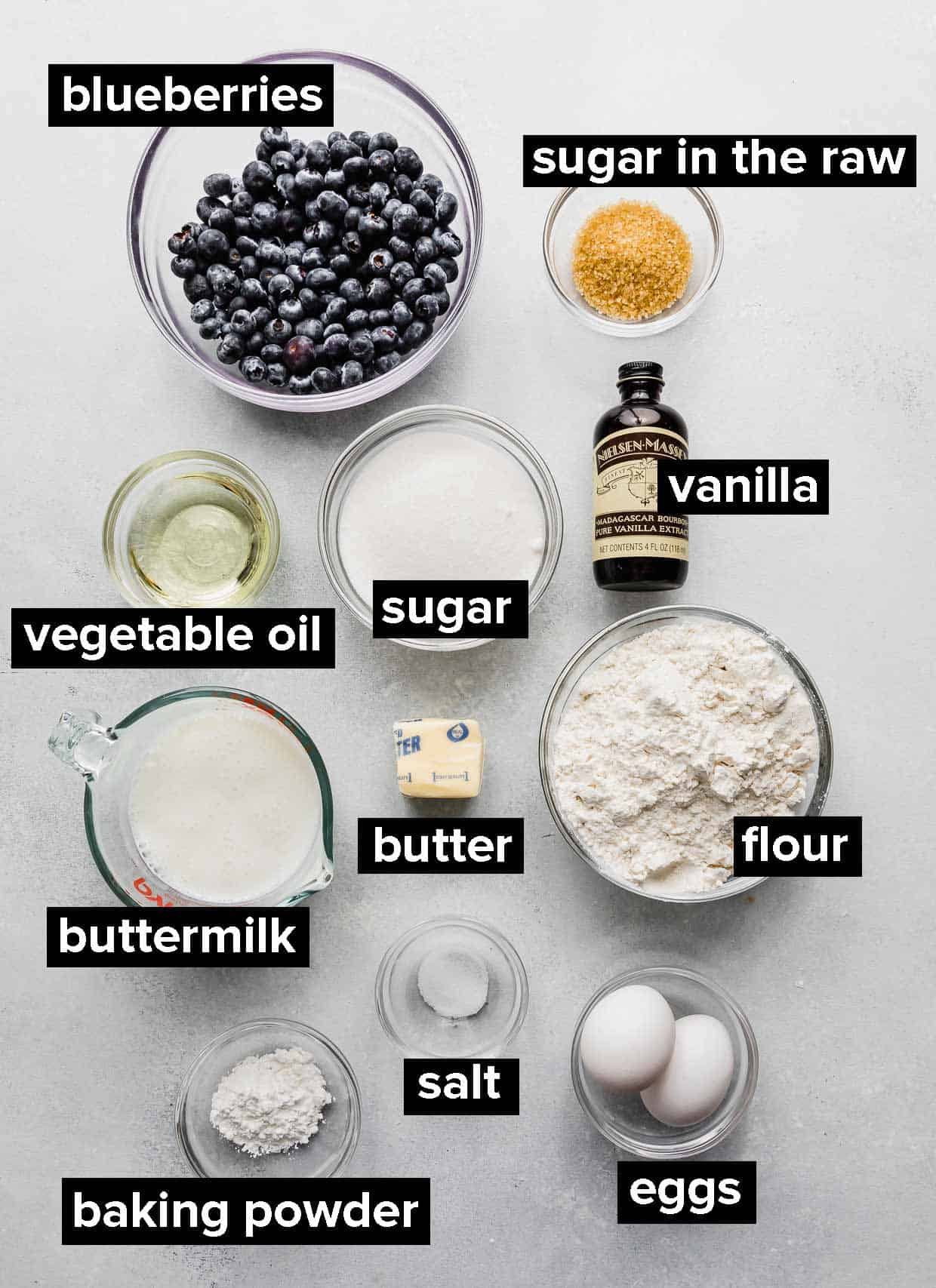 Ingredients used to make buttermilk blueberry muffins.