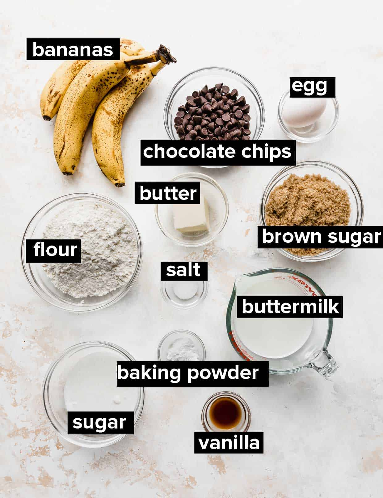 Ingredients used to make buttermilk banana chocolate chip muffins.