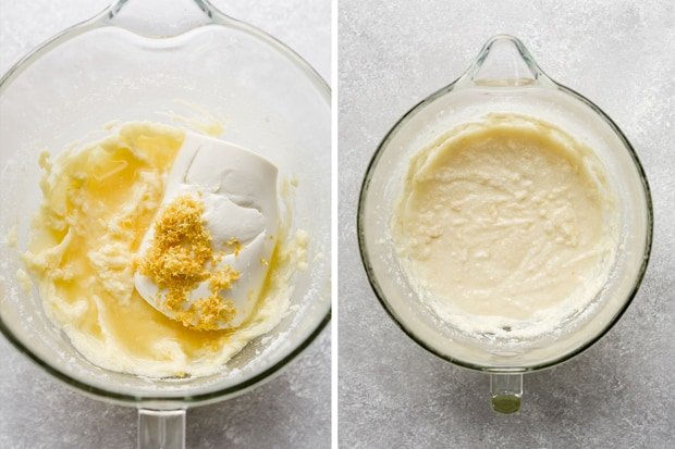 A glass bowl with lemon ricotta cookie dough batter, and a container of ricotta (prior to mixing in the ricotta).