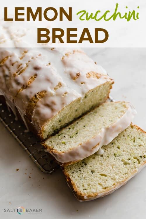 A loaf of glazed lemon zucchini bread.