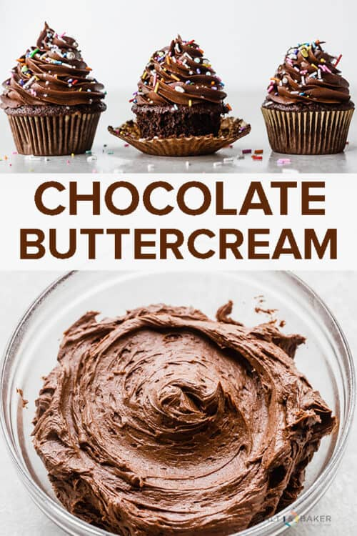 A bowl full of chocolate buttercream frosting.