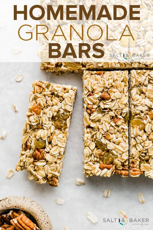 Homemade granola bars lined in a row.