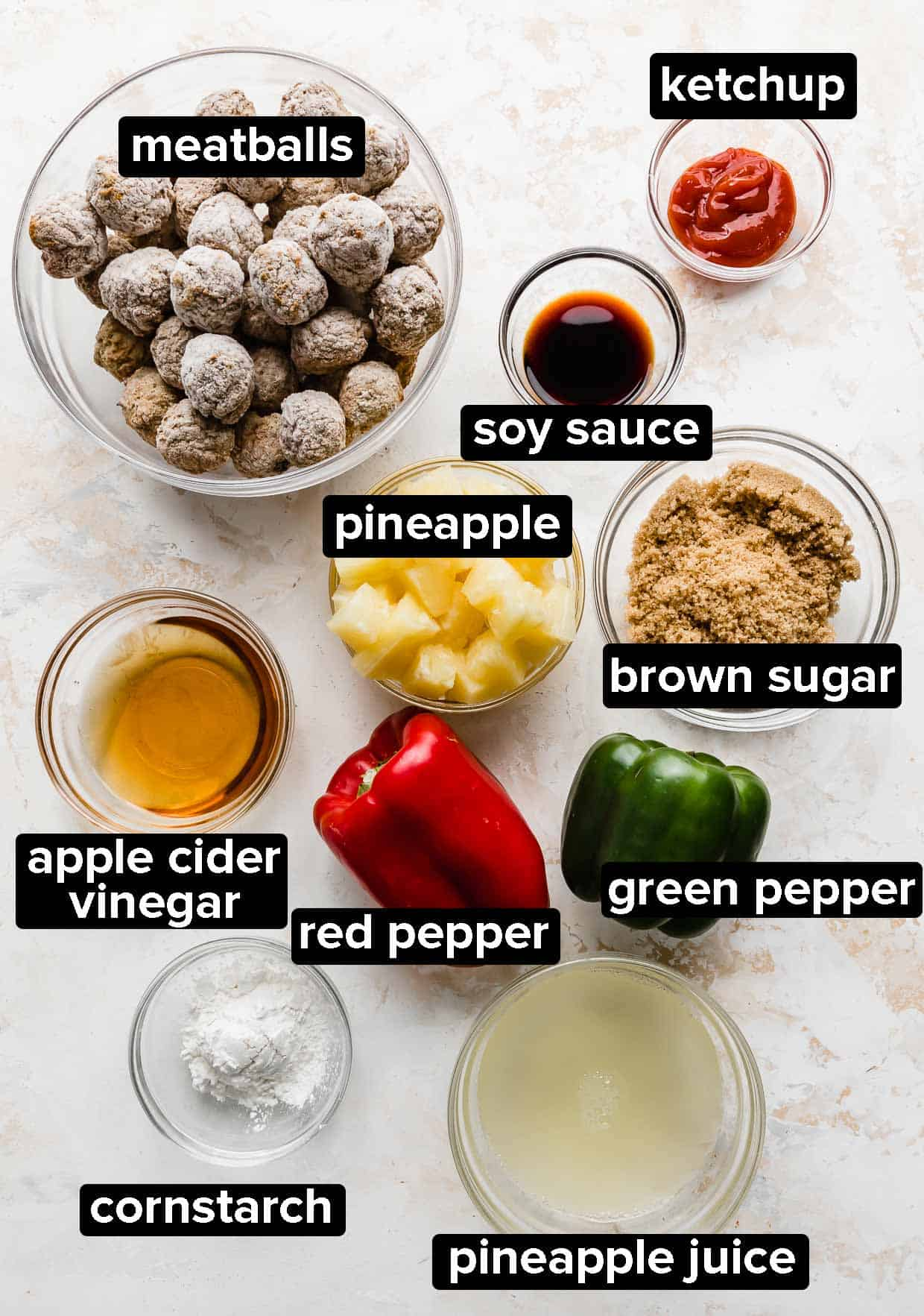 Ingredients used to make slow cooker sweet and sour meatballs.