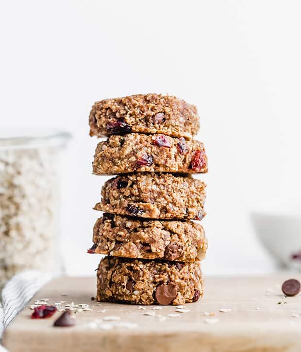 A stack of 5 breakfast cookies.