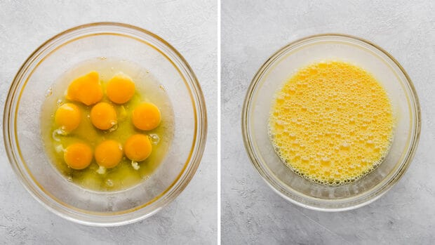Two photos, the left photo is a bowl with cracked eggs; the right bowl shows the eggs after mixing.