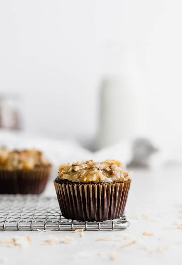 A German Chocolate cupcake topped with coconut pecan frosting.