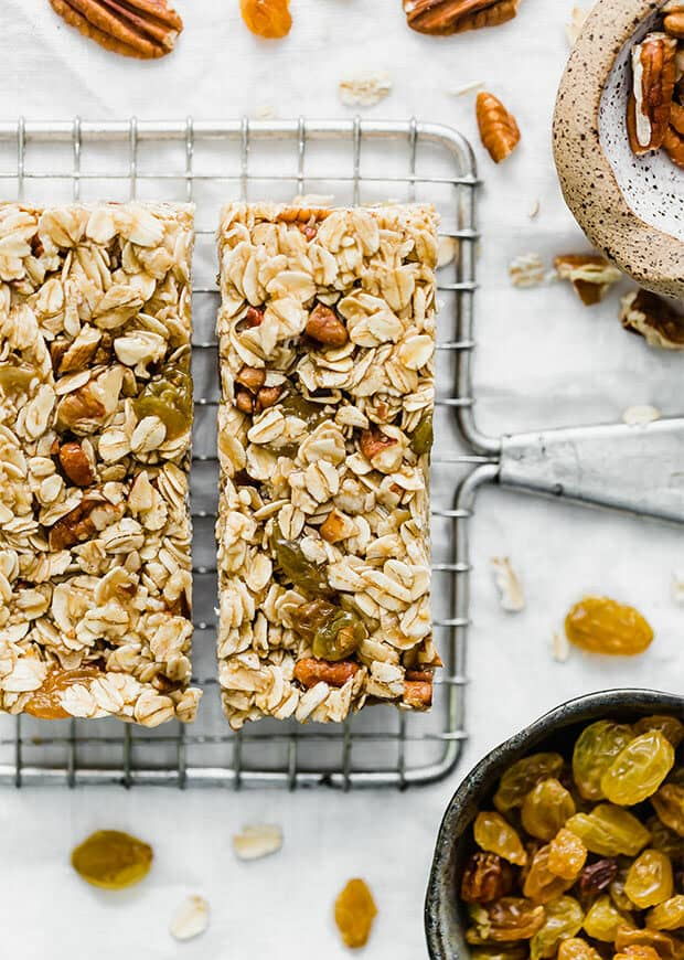 Homemade granola bar on a cooling rack.