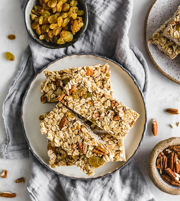 Homemade granola bars on a plate.